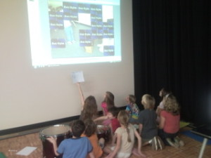 Music Class Students Playing a Rhythm Music Game